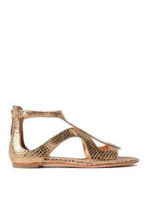 Alexander Mcqueen: sandals - Metallic snake leather flat sandals