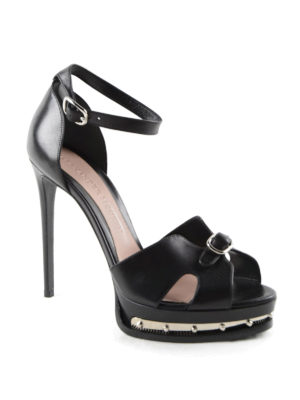 Alexander Mcqueen: sandals online - Studded platform open toe sandals