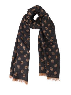 ALEXANDER MCQUEEN: sciarpe e foulard - Sciarpa in lana e seta All over Skull