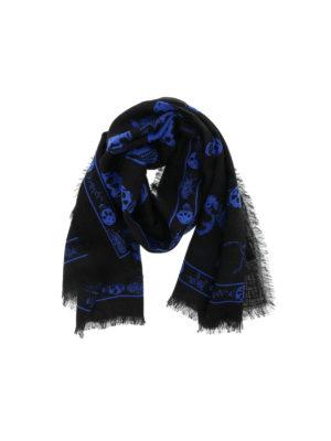 Alexander Mcqueen: scarves - Blue Punk Skull scarf
