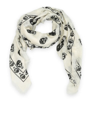 Alexander Mcqueen: scarves - Modal and silk skull print scarf