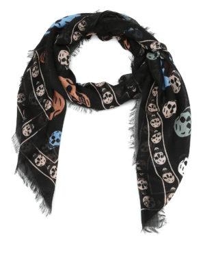 Alexander Mcqueen: scarves - Multicolour skull print foulard