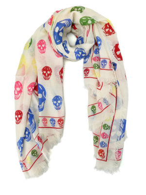 Alexander Mcqueen: scarves - Multicolour Skull wool blend scarf