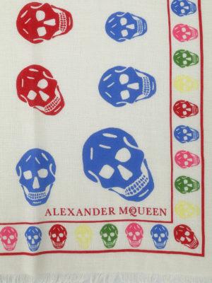 Alexander Mcqueen: scarves online - Multicolour Skull wool blend scarf