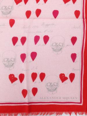 Alexander Mcqueen: scarves online - Petals patterned wool blend scarf