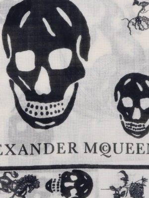 Alexander Mcqueen: scarves online - Punk Skull white scarf
