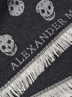Alexander Mcqueen: scarves online - Skull patterned jacquard wool scarf