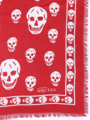 Alexander Mcqueen: scarves online - Skull patterned red scarf