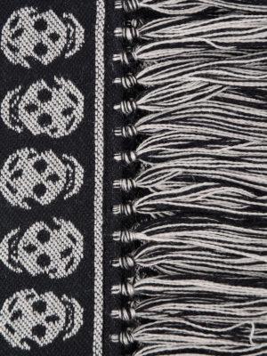 Alexander Mcqueen: scarves online - Skull patterned wool fringed scarf