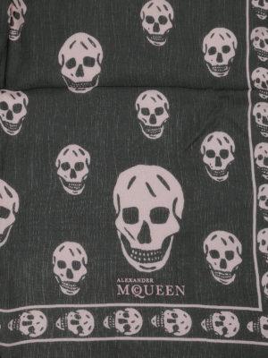 Alexander Mcqueen: scarves online - Skull print silk chiffon foulard