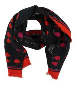 ALEXANDER MCQUEEN: sciarpe e foulard - Sciarpa con stampa Petal Skull