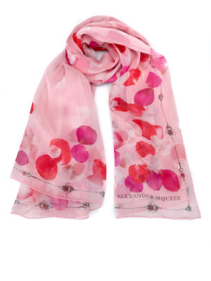 Alexander Mcqueen: scarves - Petal Skull silk scarf