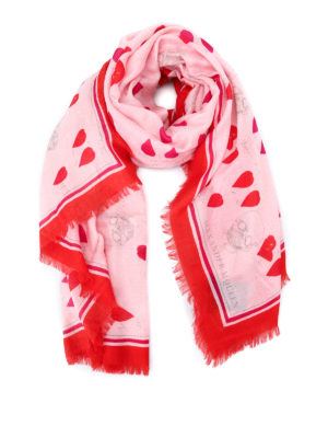 Alexander Mcqueen: scarves - Petals patterned wool blend scarf