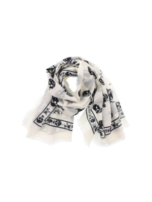 Alexander Mcqueen: scarves - Punk Skull white scarf