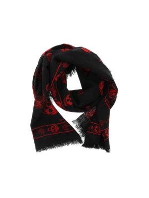 Alexander Mcqueen: scarves - Red Punk Skull scarf