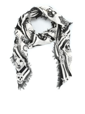Alexander Mcqueen: scarves - Silk and modal skull print scarf