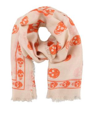 Alexander Mcqueen: scarves - Silk blend orange Skull print scarf