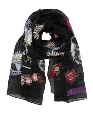 ALEXANDER MCQUEEN: sciarpe e foulard - Sciarpa in misto seta con ricami sfrangiati