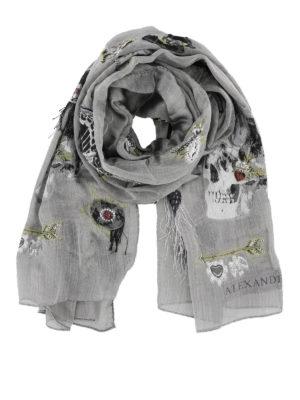 ALEXANDER MCQUEEN: sciarpe e foulard - Sciarpa in misto seta con ricami a frangette