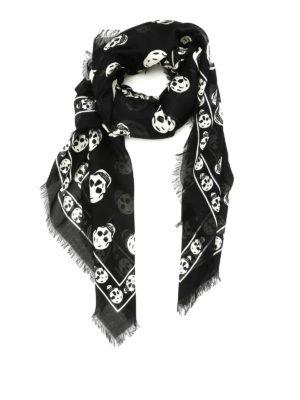 Alexander Mcqueen: scarves - Silk blend skull scarf