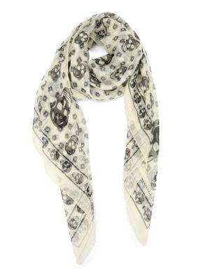 Alexander Mcqueen: scarves - Silk skull foulard