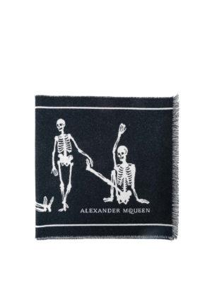 ALEXANDER MCQUEEN: sciarpe e foulard - Sciarpa lana jacquard con scheletri