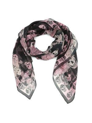 Alexander Mcqueen: scarves - Skull and floral print silk foulard