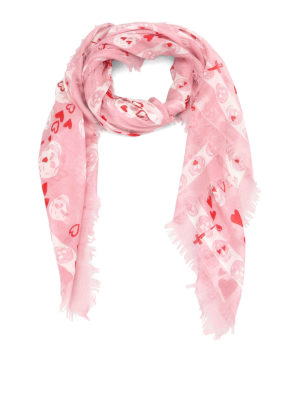Alexander Mcqueen: scarves - Skull and hearts print foulard