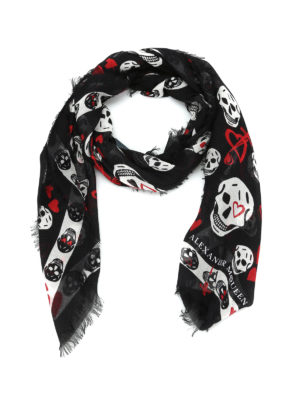 Alexander Mcqueen: scarves - Skull and hearts print foulard