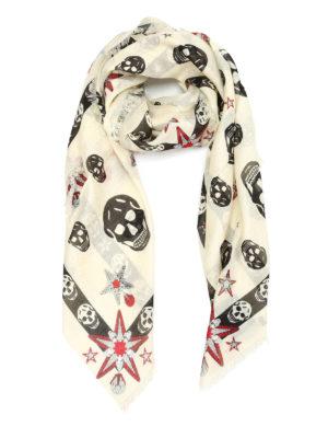 Alexander Mcqueen: scarves - Skull and star print foulard