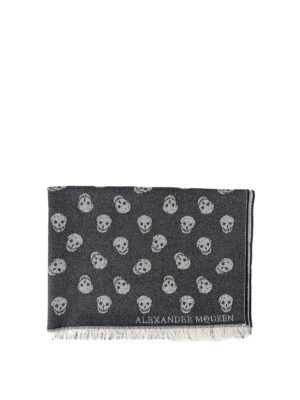 Alexander Mcqueen: scarves - Skull patterned jacquard wool scarf