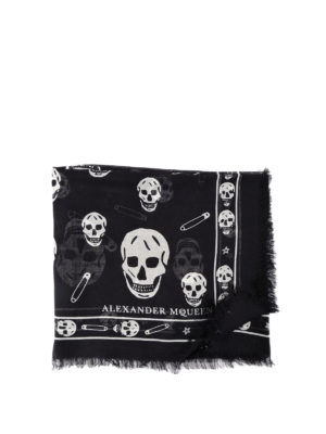 Alexander Mcqueen: scarves - Skull patterned silk blend scarf