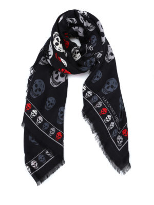 Alexander Mcqueen: scarves - Skull patterned wool blend scarf