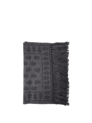 Alexander Mcqueen: scarves - Skull patterned wool fringed scarf