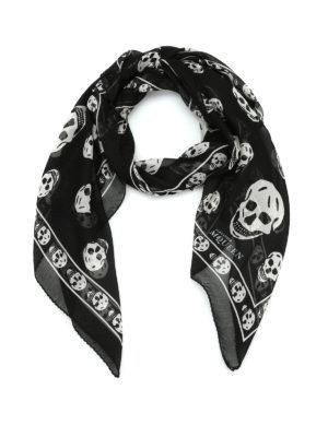 Alexander Mcqueen: scarves - Skull print silk chiffon foulard