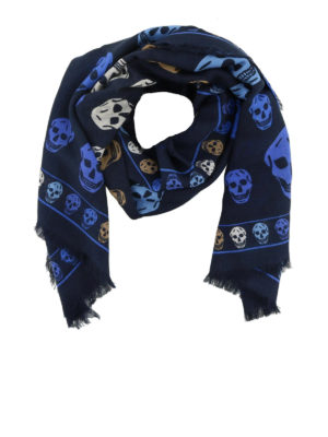 ALEXANDER MCQUEEN: sciarpe e foulard - Sciarpa in misto lana con Skull