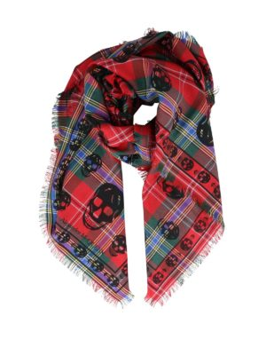 ALEXANDER MCQUEEN: sciarpe e foulard - Foulard Skull in misto seta tartan