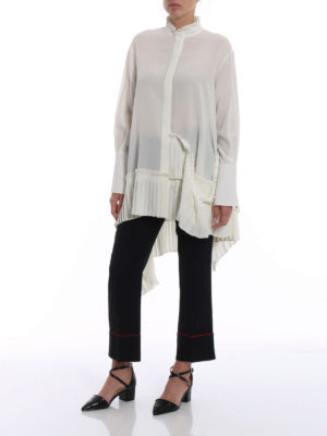 Alexander Mcqueen: shirts online - Pleated hem asymmetric silk shirt