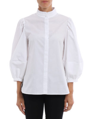 Alexander Mcqueen: shirts online - Puff sleeves ruched shirt