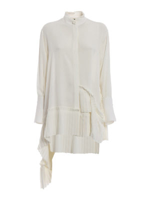 Alexander Mcqueen: shirts - Pleated hem asymmetric silk shirt