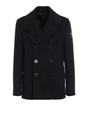 Alexander Mcqueen: short coats - Embroidered cardoon wool caban