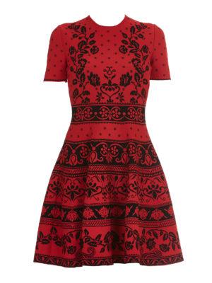 Alexander Mcqueen: short dresses - Floral jacquard jersey dress