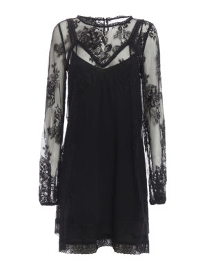 Alexander Mcqueen: short dresses - Floral lace dress with petticoat