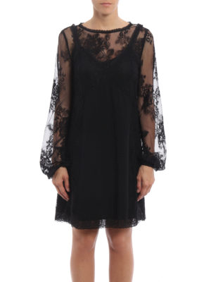Alexander Mcqueen: short dresses online - Floral lace dress with petticoat