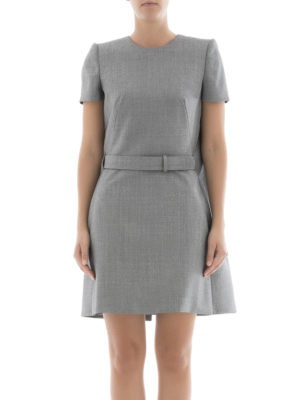 Alexander Mcqueen: short dresses online - Micropatterned wool flared dress