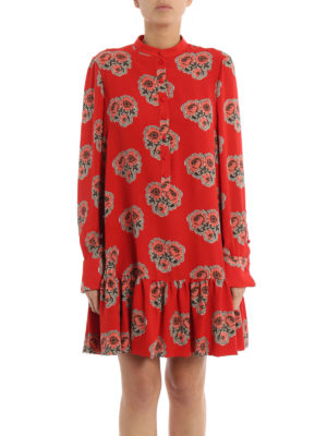 Alexander Mcqueen: short dresses online - Poppy print silk flounced dress