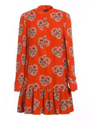 Alexander Mcqueen: short dresses - Poppy print silk flounced dress