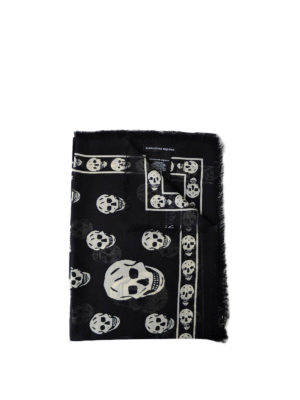 Alexander Mcqueen: Stoles & Shawls - Big Skull black and white shawl
