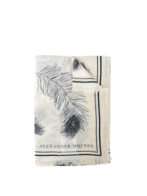 Alexander Mcqueen: Stoles & Shawls - Feather and skull printed foulard