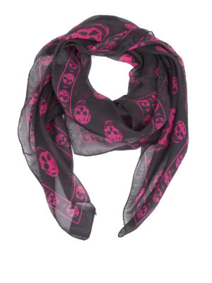 Alexander Mcqueen: Stoles & Shawls - Fuchsia Skull chiffon silk shawl